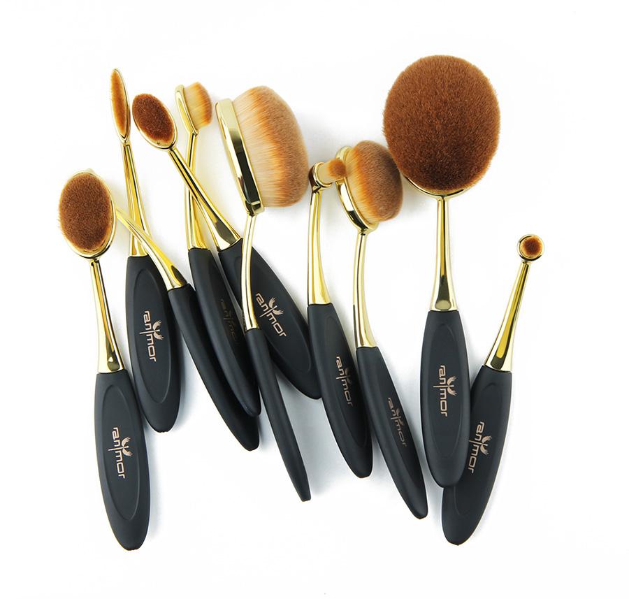 POLYVALENT 10 pcs/ensemble Brosse à Dents Forme Ovale Maquillage Brosse Ensemble Professionnel Fondation Pinceau Poudre Kits 6