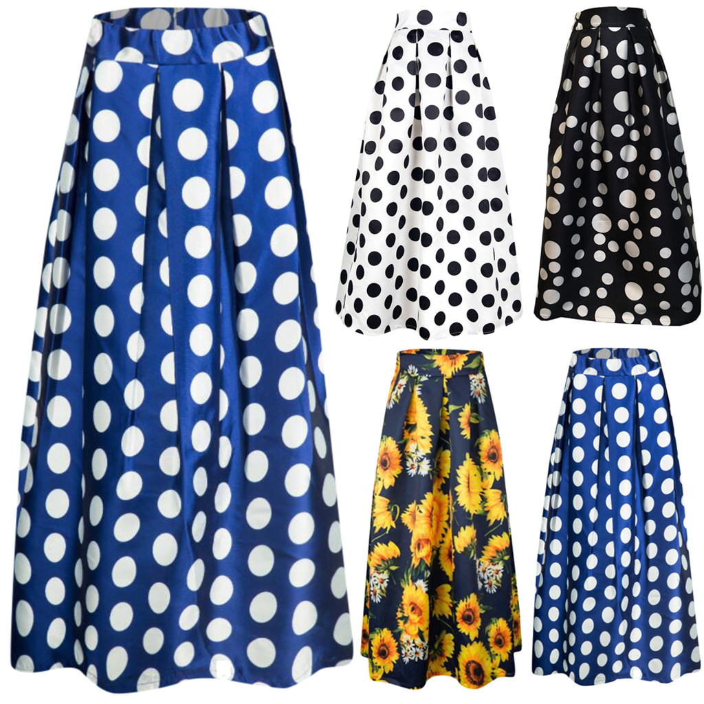 Women's Skirt Skirts faldas jupe femme shein Fashion Party Cocktail Summer Women Dot Printed Skirt High Waist Full-SkirSkirt #50(China)
