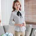 Women Tie Blouses OL Office Slim Female Black And White Striped Shirt Formal Autumn Wear Casual Turn-down Collar Bow Lady Tops