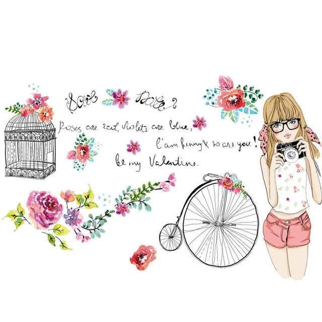 Aliexpress.com : Buy Removable Wall Tattoo Decals Birds Cage Bicycle Flower Girl's Room Deco 19