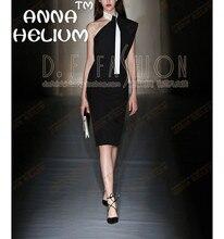 2016 ANNA HELIUM  Autumn/Winter off the shoulder  blouse + asymmetric ramps slim dress suits   S357