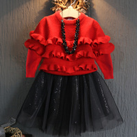 The Latest Upgrade And Children S Clothing Sweater Girl Dress Stitching A Gauze On Behalf Of