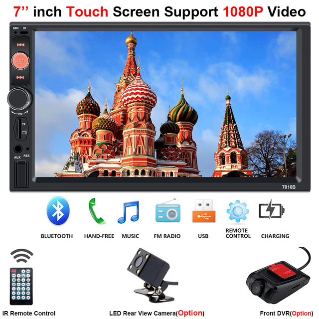 Centrale Multimidia 2Din 2 Din 7 Touch Screen Auto DVR Voor Achter Camera Bluetooth Radio Music Movie Player Multimedia autoradio