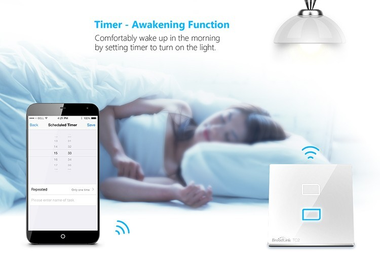 10-Broadlink TC2 2Gang Wifi Wall Light Smart Switch RF433MHZ Wireless Remote Control Smart Home Automation System Via Android IOS