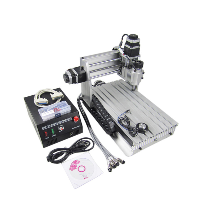 3d Wood Router 3020 230W DC Spindle Mini Cnc Milling Machine With Cutter Collet Clamp Vise Drilling