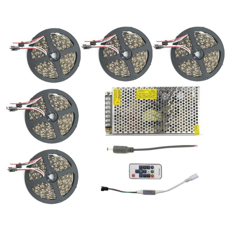 WS2811 IC 5050 RGB LED bande IP67 60 LED s/m 5M 10M 15M 20M bandes flexibles bande lumière Lampe étanche + 14key Dream Color Remote