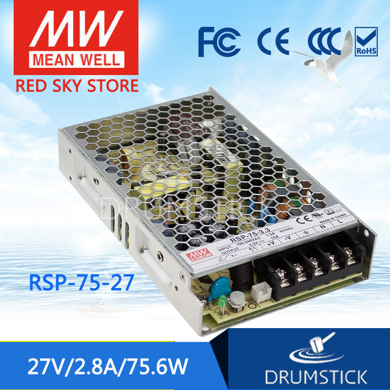 Advantages MEAN WELL RSP-75-27 27V 2.8A meanwell RSP-75 27V 75.6W Single Output with PFC Function Power Supply 100% original mean well epp 100 27 27v 2 8a meanwell epp 100 27v 75 6w single output with pfc function [real1]