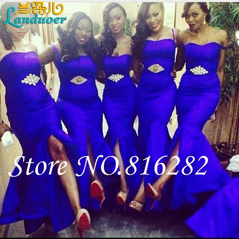 Cuatro estilos azul real de la sirena dama de Honor vestidos con ...
