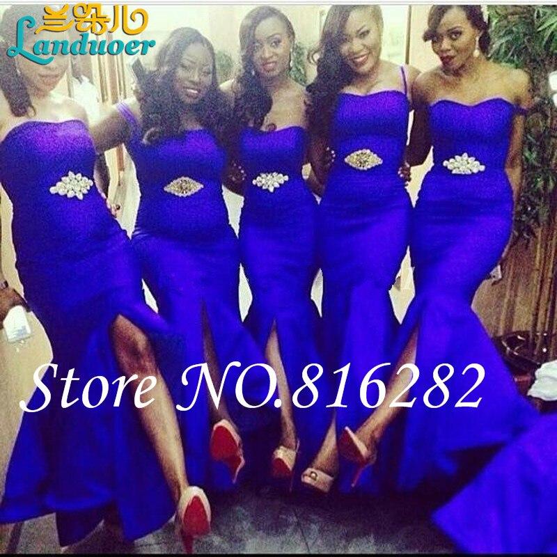 Dorable Azules Largos Vestidos De Dama Cresta - Vestido de Novia ...
