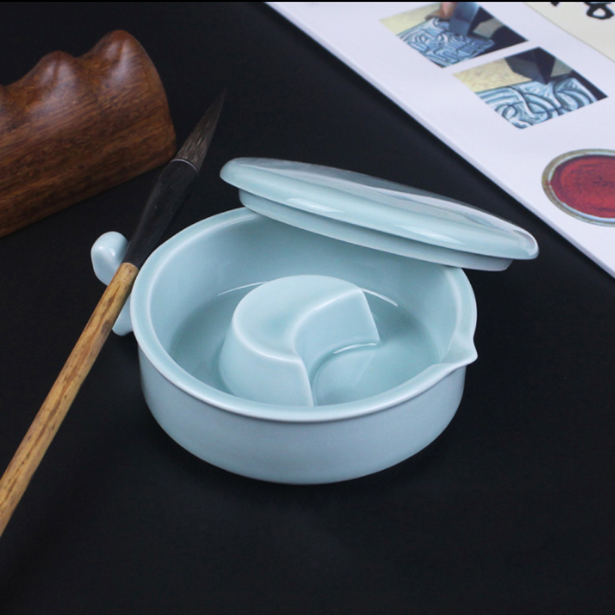 Ceramaic ink Fountain Chinese Celadon procelain ware Ink Box ink cartridge Painting Calligraphy Supply