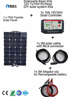 Xinpuguang 20V 75W flexible solar panel smooth surface DIY RV Marine solar system kits +controller+cable outdoor led light