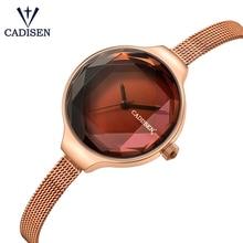 Бренд cadisen японские кварцевые часы Для женщин Сталь сетка группа женские наручные часы Reloj Mujer Relogio женское платье часы дамы картинки