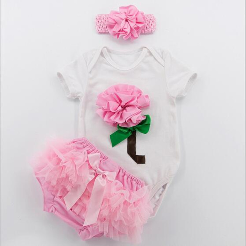 3pcs girls Valentines Rose Short sleeve white Bodysuit ruffle tutu bloomer set  (4)