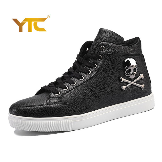 Sales 2017 New Luxury Brand Men Shoes Genuine Leather Skull Hip Hop Men Casual Shoes Big Size Shoes For Men Black White Red