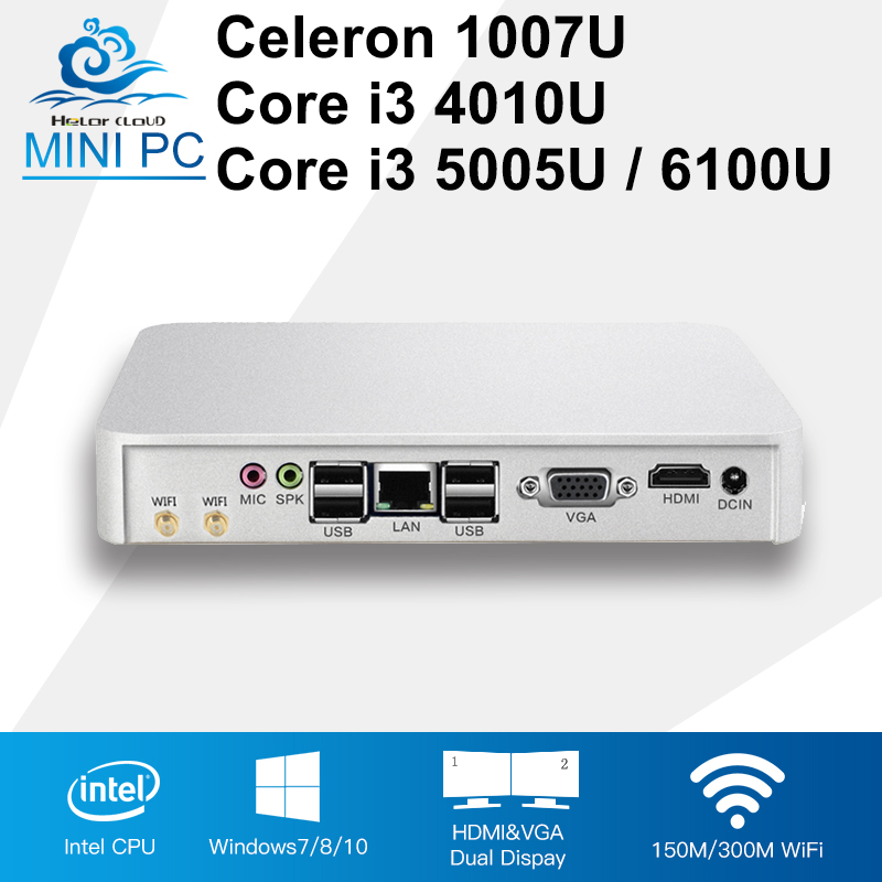 New Mini Computer Intel Core i3 4010U 5005U 6100U Windows 10 Mini PC Celeron 1007U Desktops 4GB RAM HDMI 802.11b/g/n Wifi fanless mini pc i3 6100u ddr4 desktop computer i3 5005u ddr3l celeron n3150 with dual band wifi 2 4g 5g