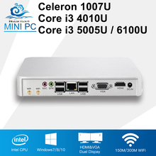 New Mini Computer Intel Core i3 4010U 5005U 6100U Windows 10 Mini PC Celeron 1007U Desktops 4GB RAM HDMI 802.11b/g/n Wifi