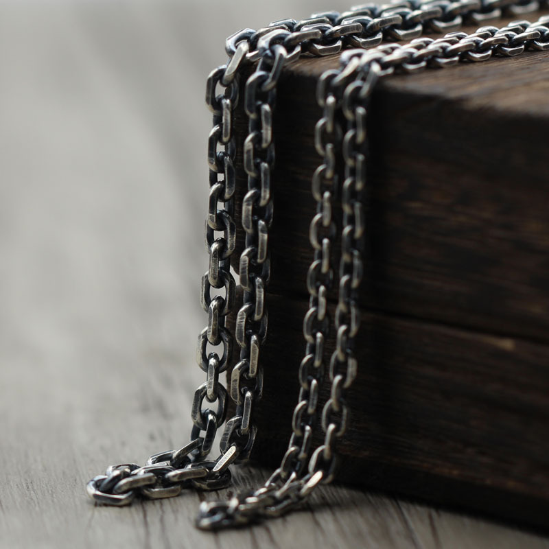 Thai Silver To Create Men Women Personality Wild Too Horn Necklace S925 Sterling Silver Jewelry Retro Sweater Chain