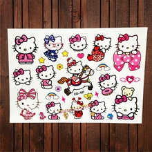 FANRUI Fashion Hello Kitty Waterproof Temporary Tattoo For Kids Body Art Arm Tatoo Fake Flash Transfer Tattoo Stickers Cat Girl