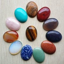 Wholesale 12pcs/lot fashion assorted natural stone mixed Oval CAB CABOCHON beads 30x40mm for DIY jewelry accessories making free