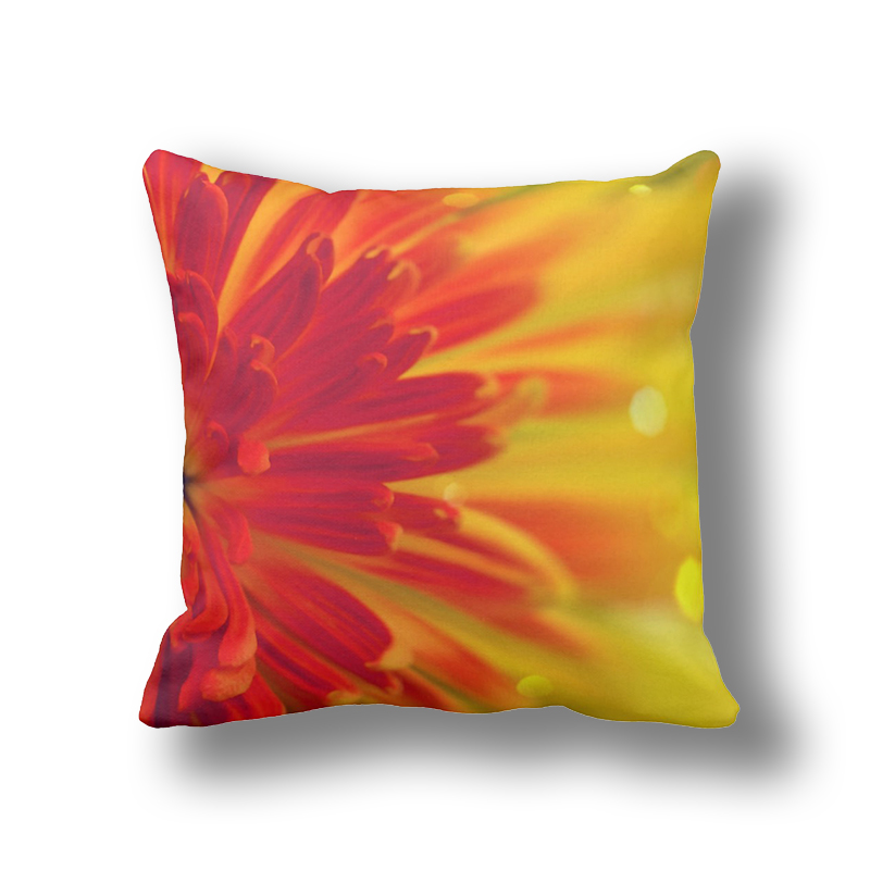 IKathoME Red/Orange/Yellow Daisy Flowers Throw Pillows For Sofa,Burlap  Pillow Covers
