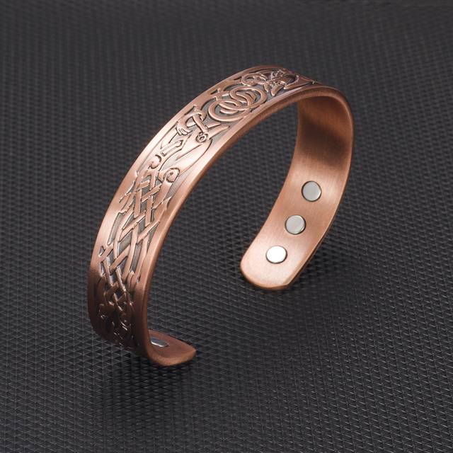 Pure Copper Vintage Health Energy Magnetic Open Cuff Wide Bracelet