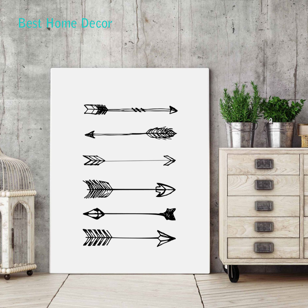 Arrow Art Print Poster For Home Decor Black White Wall