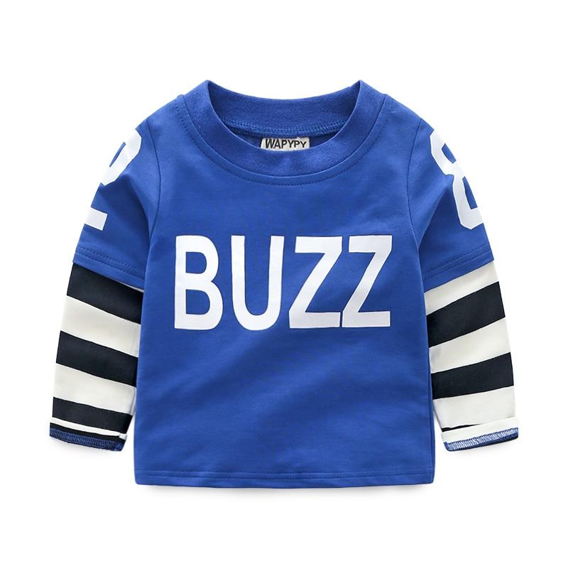 Children T-shirt Boys Clothes 2018 Brand Baby Boys Tops & Tees Cotton Kids Long Sleeve Sweatshirt Boys T shirts Patchwork Blouse
