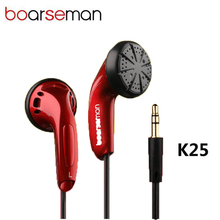 Boarseman K25 In ear Earphone Hifi Music Headset Flat Head Noise Cancelling EarBuds 3.5mm Bass Stereo for phone auriculares