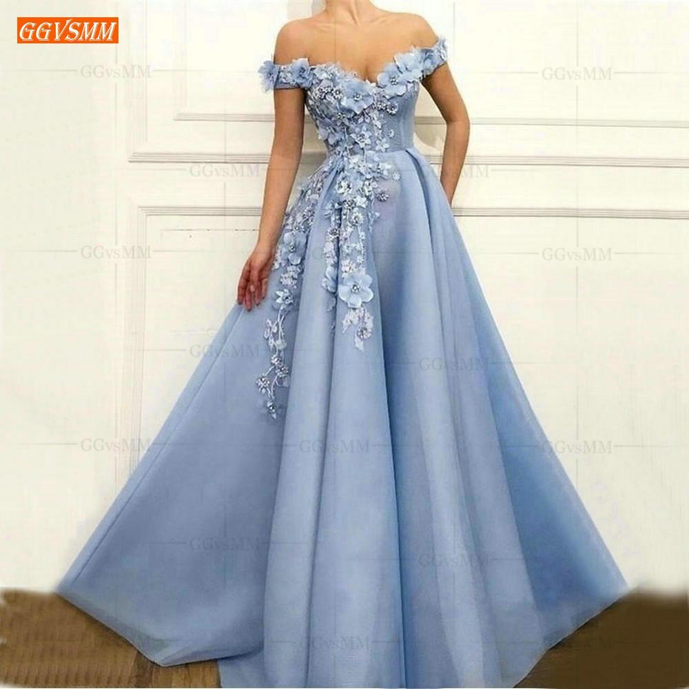 Blue Off the Shoulder Prom Dresses Long 2020 vestidos de gala Tulle 3D Flower Beaded Pageant A Line Evening Gowns Women Dress
