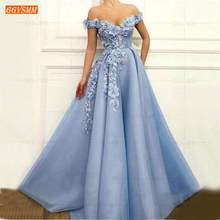 Azul fora do ombro vestidos de baile longo 2020 vestidos de gala tule 3d flor frisado pageant uma linha vestidos de noite das mulheres vestido