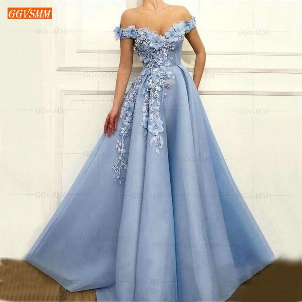 >Graceful Blue Off the Shoulder <font><b>Prom</b></font> <font><b>Dresses</b></font> Long Tulle 3D Flower <font><b>Beading</b></font> Pageant A Line Evening Gowns luscious Women <font><b>Prom</b></font> <font><b>Dress</b></font>