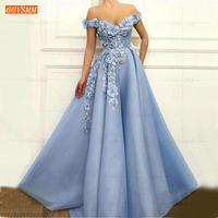 Graceful Blue Off the Shoulder Prom Dresses Long Tulle 3D Flower Beading Pageant A Line Evening Gowns luscious Women Prom Dress