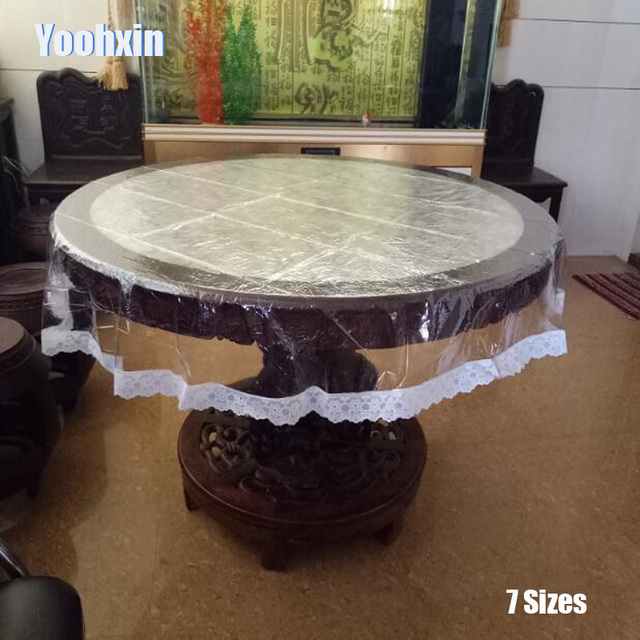 HEIssER Spitze Weiche Glas Runde Transparent PVC Kunststoff Wachstuch Tee Tisch Tuch Abdeckung Wasserdichte Tischdecke Weihnachten