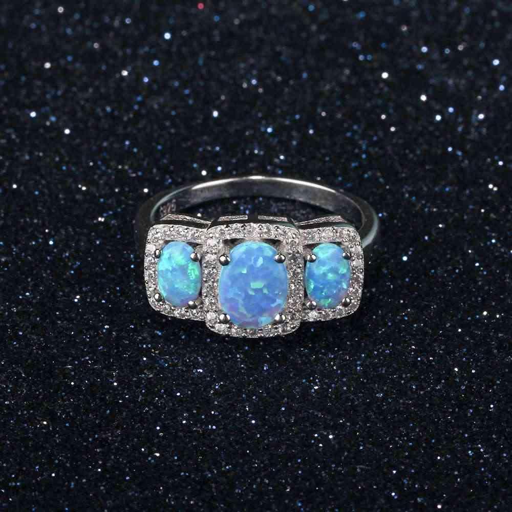 925 סטרלינג כסף נשים של טבעות מפואר כחול אופל אבן מסיבת תכשיטי אנל עבור נשים (JewelOra RI103622)