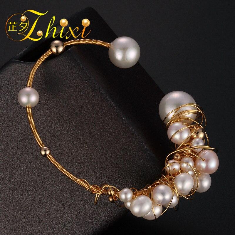 ZHIXI Bracelets de perles d'eau douce bijoux fins près de Bracelets de perles naturelles rondes pour les femmes blanc cadeau d'anniversaire à la mode S303