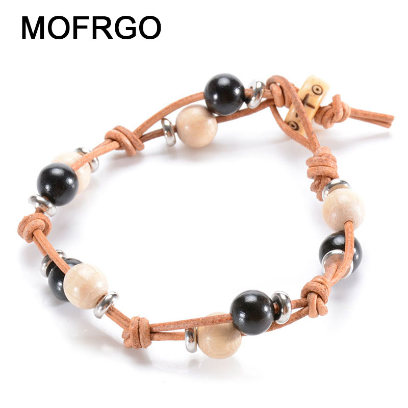 MOFRGO Simple Wooden Beads Bracelets For Woman Natural Wood Tibetan Silver With Real Leather Handmade Braided Chinese Style Gift