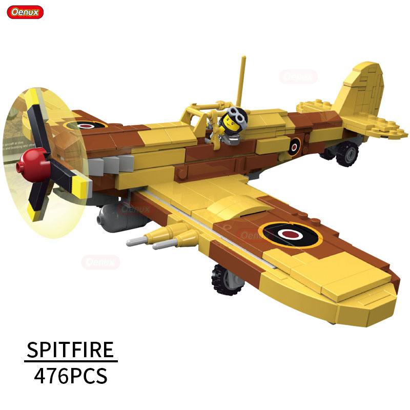 Oenux World War 2 British Single-Seat Fighter Supermarine Spitfire Model Military Building Block Aircraft Pilot Brick Boys Toy oenux world war 2 united state army air forces fighter p 47 thunderbolt aircraft vehicle model military building block brick toy