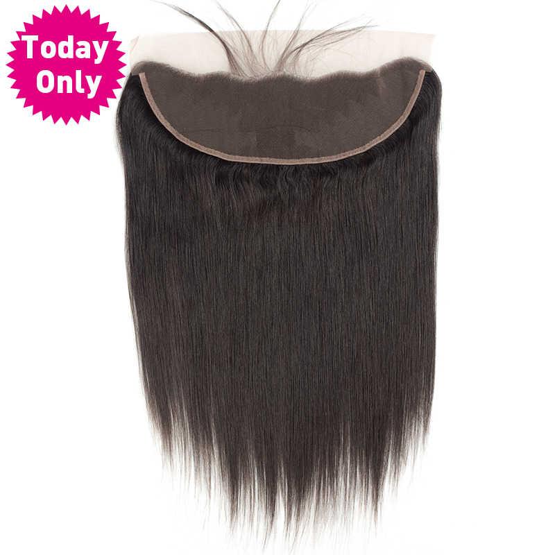 [Только сегодня] бразильские прямые волосы 13X4 уха до уха кружева фронтальное Закрытие с волосами младенца 100% человеческие волосы пучки не реми волосы