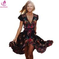 Summer 2016 Women Dress Retro Floral Print Irregular Sexy Dress Short Sleeve V Neck Boho Dress