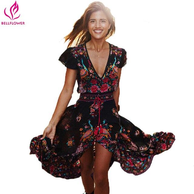 BellFlower Summer Boho Dress Etehnic Sexy Print Retro Vintage Dress Tassel Beach Dress Bohemain Hippie Dress Robe Vstidos Mujer