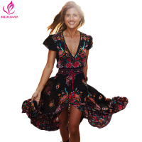 Summer 2016 Women Dress Retro Floral Print Irregular Sexy Dress Short Sleeve V Neck Boho Dress