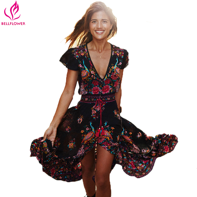 Glockenblume Sommer Boho Kleid Etehnic Sexy Print Retro Vintage Kleid Quaste Strand Kleid Bohemian Hippie Kleid Robe Vstidos Mujer