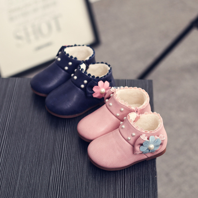 YNB Brand Baby Toddler Winter Boots Children Girl  Keep Warm Princess Shoes with Flower 2016 Fashion Girls Boots Leather Shoes