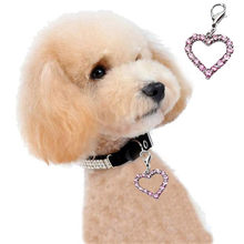 Cute Fashion Popular Mascotas Heart Shaped Puppy Rhinestone Pendant Lovely Pet Jewelry Dogs pets wedding cheap accessories 2017(China)