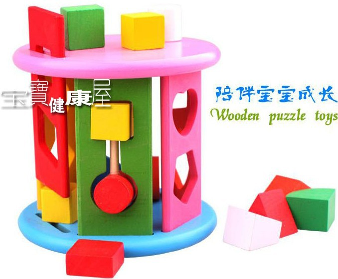 Candice guo montessori wooden toy intelligence shape wheel assemble educational wood block match game birthday christmas gift