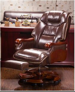 Home Leather Boss Chair Office Chair Massage Can Lie Turning Chair Computer Chair Cowhide Solid Wood Big Class Chair.