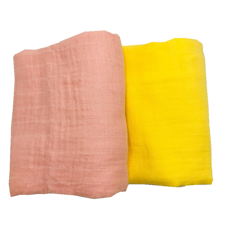 Pink & Yellow Solid Color Active Printing Very Soft 70% Bamboo Fiber 30% Cotton Muslin Baby Blanket Blankets Swaddle For Newborn