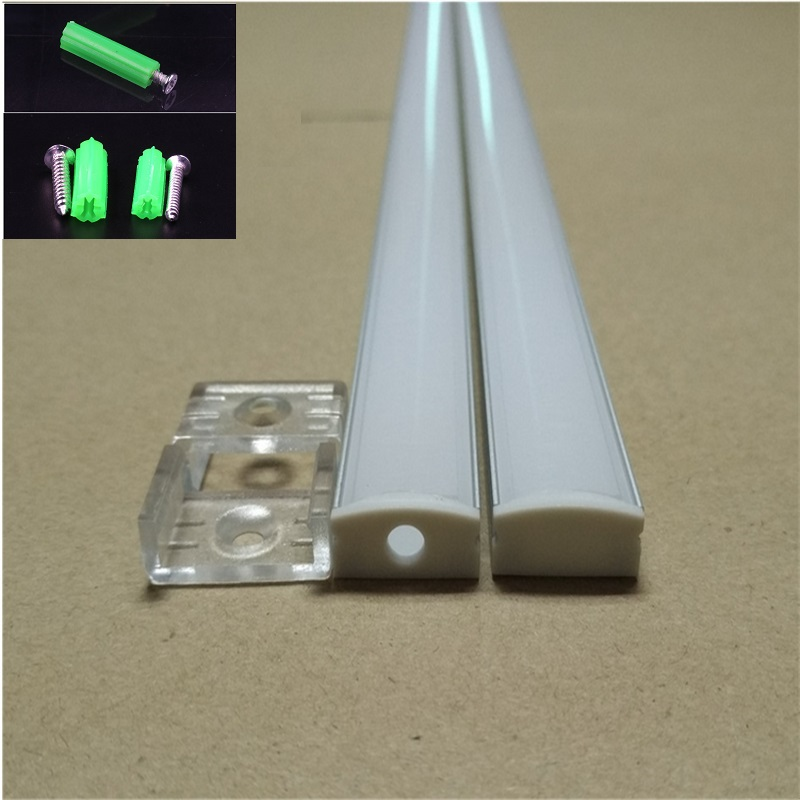 2-30 ensemble/lot 0.5 m 12mm bande led profil en aluminium pour led bar lumière, led en aluminium canal, plat boîtier en aluminium