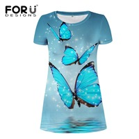 FORUDESIGNS Fashion Ladies Dress Women Casual Party Dress 3D Butterfly Woman Clothes Brand Summer Beach Dress