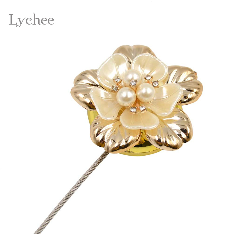 Lychee 1pc Gold Silver Flower Wire Curtains Tieback Magnet Curtains ...